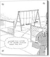 A Businessman Walks Away From A Playground Acrylic Print