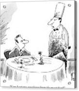 A Butcher Addresses A Man Sitting At A Dinner Acrylic Print