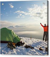 A Camper Lifts His Hand In The Air Acrylic Print