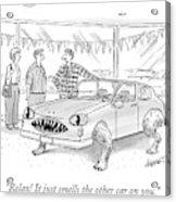 A Car Salesman Shows A Couple A Car Monster Acrylic Print
