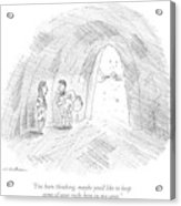 A Cavewoman Talks To A Caveman Who Is Leaving Acrylic Print