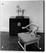 A Chair, Bedside Cabinet And Sculpture Of A Horse Acrylic Print