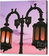 A Characteristic Lamp Post In The City Of Dahab At Dusk Acrylic Print