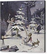 A Cherub Wields An Axe As They Chop Down A Christmas Tree Acrylic Print
