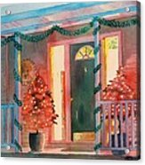 A Christmas At Home, House Prints, Porch Prints, House Paintings, House Prints, Christmas Paintings, Acrylic Print