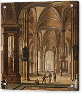 A Church Interior With Elegant People Acrylic Print