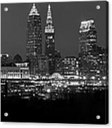 A Cleveland Black And White Night Acrylic Print