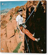 A Climber On Panty Wall In Red Rock Acrylic Print