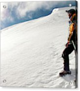 A Climber On The Glacier Of Cotopaxi Acrylic Print