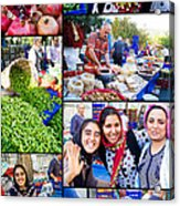 A Collage Of The Fresh Market In Kusadasi Turkey Acrylic Print