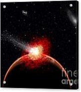 A Comet Hitting An Alien Planet Acrylic Print