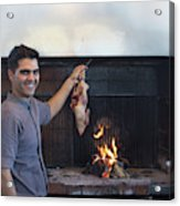 A Cook Hangs A Turkey Over Fire Pit Acrylic Print