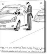 A Cop Pulls Over A Minivan Acrylic Print