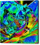 A Cosmic Dragonfly On A Psychedelic Rose Acrylic Print