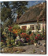A Cottage Garden With Chickens Acrylic Print