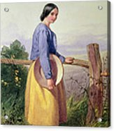 A Country Girl Standing By A Fence Acrylic Print