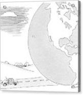 A Couple Drives Towards A Giant Earth Acrylic Print