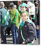 A Couple Girls Enjoying Themselves In The 2009 New York St. Patrick Day Parade Acrylic Print
