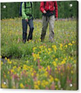 A Couple Hikes Through A Field Acrylic Print