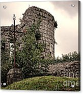A Cross In The Ruins Acrylic Print