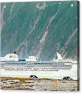 A Cruise Ship Passes By A Wolf Roaming Acrylic Print