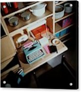 A Cupboard With A Blue Typewriter Acrylic Print