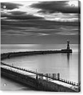 A Curving Pier With A Lighthouse At The Acrylic Print