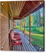 A Deck By The Methow River At Cottonwood Cottage Acrylic Print