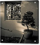 A Detail At The Lan Su Chinese Garden Acrylic Print by John Magnet Bell