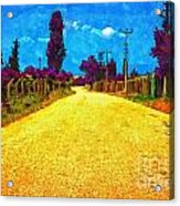 A Digitally Converted Painting Of An Empty Country Lane Acrylic Print