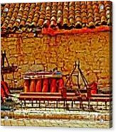 A Digitally Converted Painting Of Farm Machinery In A Turkish Village Acrylic Print