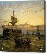 A Dismantled East Indiaman In The Thames Estuary Acrylic Print by William Adolphus Knell