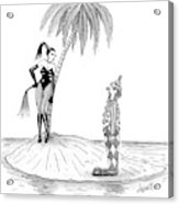 A Dominatrix Speaks To A Clown On A Small Desert Acrylic Print