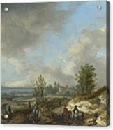 A Dune Landscape With A River And Many Figures Acrylic Print