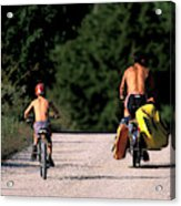 A Father And Son Ride Their Bikes To Go Acrylic Print