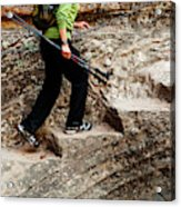 A Female Hiker Walking Up Steps Chopped Acrylic Print