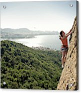 A Female Rock Climber In Action In Rio Acrylic Print