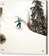 A Female Snowboarder Lays Out Some Acrylic Print