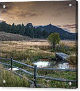 A Fence In A Field Acrylic Print