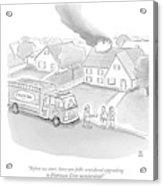 A Fireman Talks To A Family While Their House Acrylic Print