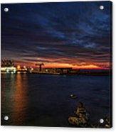 a flaming sunset at Tel Aviv port Acrylic Print