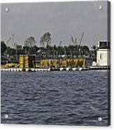 A Floating Platform With A Number Of Pipes Used For Construction Acrylic Print
