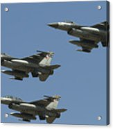 A Formation Of Turkish Air Force F-16cd Acrylic Print