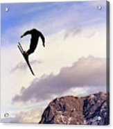 A Freestyle Skier Takes A Jump In Utah Acrylic Print