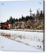 A Freight Train On A Snowy Day  Acrylic Print by Tom Druin