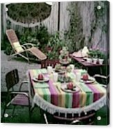 A Garden Set Up For Lunch Acrylic Print