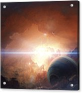 A Gas Giant Partly Hidden In A Nebula Acrylic Print