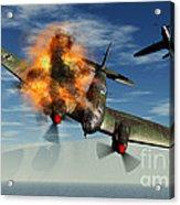 A German Heinkel Bomber Plane Crashing Acrylic Print