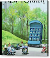 A Giant Stroller With 16 Babies In It Sits Acrylic Print