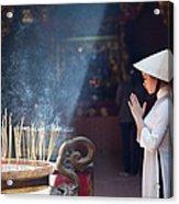 A Girl In Ao Dai Praying In A Pagoda Acrylic Print